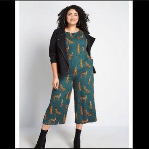 ModCloth cheetah wide leg jumpsuit